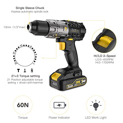 Combo Kit of TECCPO 20V Max TDHD01P Cordless Drill Driver 60Nm Max Torque, and TDID01P Impact Driver 180Nm Max Torque with 2x 2.0Ah Lithium-Ion Batteries, 30 Minute Fast Charger by TECCPO (Image #4)