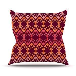 "Kess InHouse Suzie Tremel""Rick Rack"" Red Orange Outdoor Throw Pillow, 20 by 20-Inch"