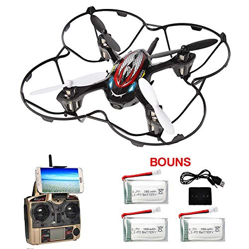 F180W FPV Drone Including 4 Batteries, Mini Drone with 720P HD Camera Live Video RC Quadcopter with 3D Flip Headless Mode APP Control Easy for Beginner