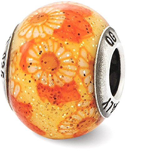 IceCarats 925 Sterling Silver Charm For Bracelet Italian Orange Floral Overlay Glass Bead Designed (Floral Italian Charm)