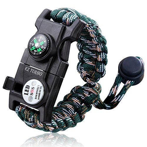 EZTurbo Survival Bracelet, 20 in 1 Survival Paracord