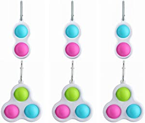 6PCS Simple Fidget Dimple Popper Keychain, GetALift Bubble Pop Fidget Stress Relief Sensory Toys Handheld Therapy Decompression Toys for Adults Teens Kids in Office Home School (Pink & Blue)