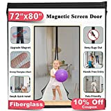 Upgrade Fiberglass Magnetic Screen Door, Fits Doors up to 70 x 79-Inch, Mkicesky French Door Mesh...