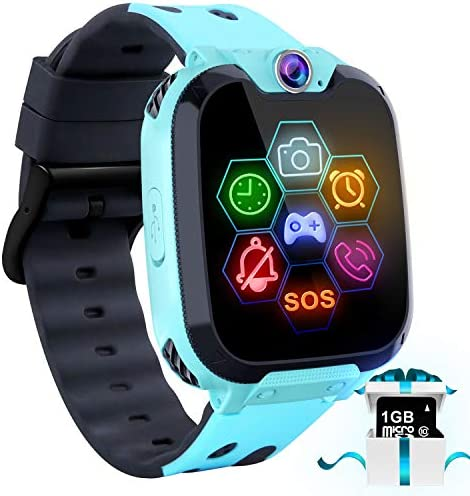 """Children Recreation Good Watch Cellphone – 1.54"""" Contact Display screen Recreation Smartwatches with [1GB Micro SD Card] Name SOS Digital camera 7 Video games Alarm Clock Music Participant File for Youngsters Boys Ladies for 4-12 Years (Blue)"""
