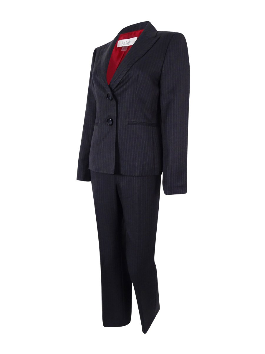 Le Suit Women's Petite 2 Button Pinstripe Jacket and Pant Set, Charcoal Multi, 10/Petite