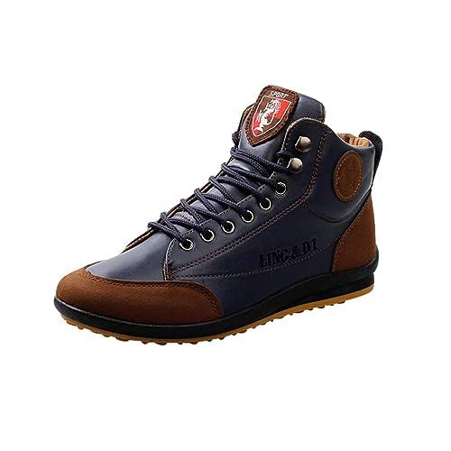 2018 Hombres PU Botines de Cuero con Cordones Zapatos Casuales Zapatos de Gran Altura al Aire Libre Calzado Casual: Amazon.es: Zapatos y complementos