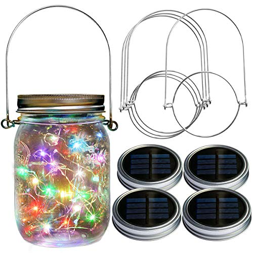 Homeleo 4-Pack 20 LED Color Changing Solar Mason Jar Lid Lights Wide Mouth with Stainless Steel Hangers for Front Yard Garden Summer Backyard Patio Outdoor Decor