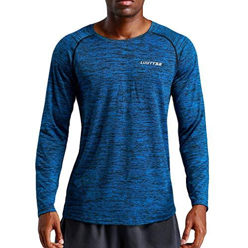 Long Hockey Skates Sleeve (KIKOY Men's New Fitness Training Clothes Long Sleeve Outdoor Sports Blouse Tops)