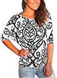 Astylish Women Casual 3 4 Sleeve Floral Print Blouses and Tops T-Shirts