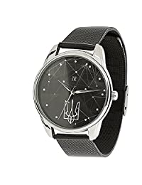 ZIZ Ukraine Stainless Steel Watch, Unisex Wrist Watch, Quartz Analog Watch with Stainless Steel Watch Band