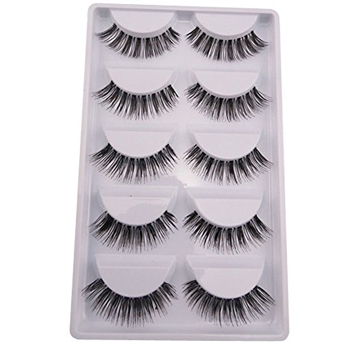 Polytree 5 Pairs Handmade Natural Soft False Eyelashes Fake Eye Lash (Style 1)