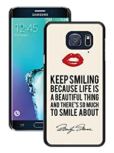 WOSN Marilyn Monroe Keep Smiling Signature and Kiss Quote Black Case Cover for Samsung Galaxy S6 edge Plus
