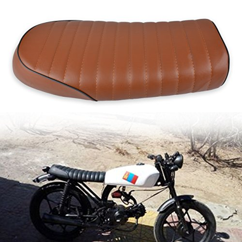 Vintage Honda Motorcycles - KaTur Universal Motorcycle Flat Vintage Seat Cushion Saddle for Honda CB125S CB550 CL350 450 CB CL Retro Cafe Racer Brown