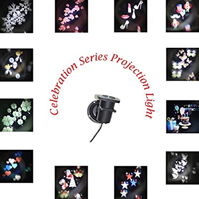 SOLLA Landscape Projector LED Lights Rotating Star Spotlight Wall Decoration with12 PCS Switchable Pattern Lens for Holiday, Wedding, Party, Christmas, Birthday