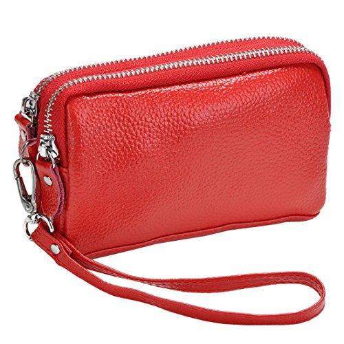 Women's Wristlet Coin Zip Sale Leather Purse Red Bag Clutch Organizer Wallet rArZqxP