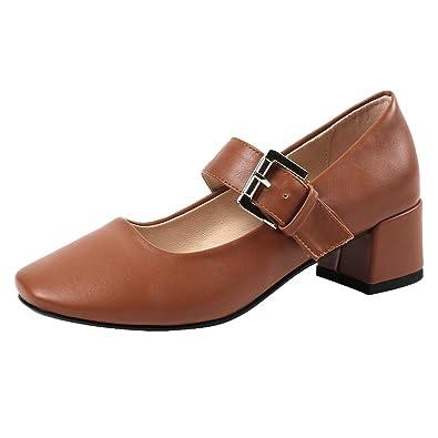 7b931c64fea997 RAZAMAZA Damen Mode Blockabsatz Pumps Party Buro Schuhe Mary Jane  Halbschuhe Brown Gr 32 Asian