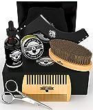 Beard Kit 6-in-1 Grooming Tool   Best Mustache & Beard Care Set For Men   Natural Balm, Unscented Oil, Boar Bristle Brush, Wood Comb, Trimming Scissors, Shaper Template   Great GENTLEMEN'S Gift