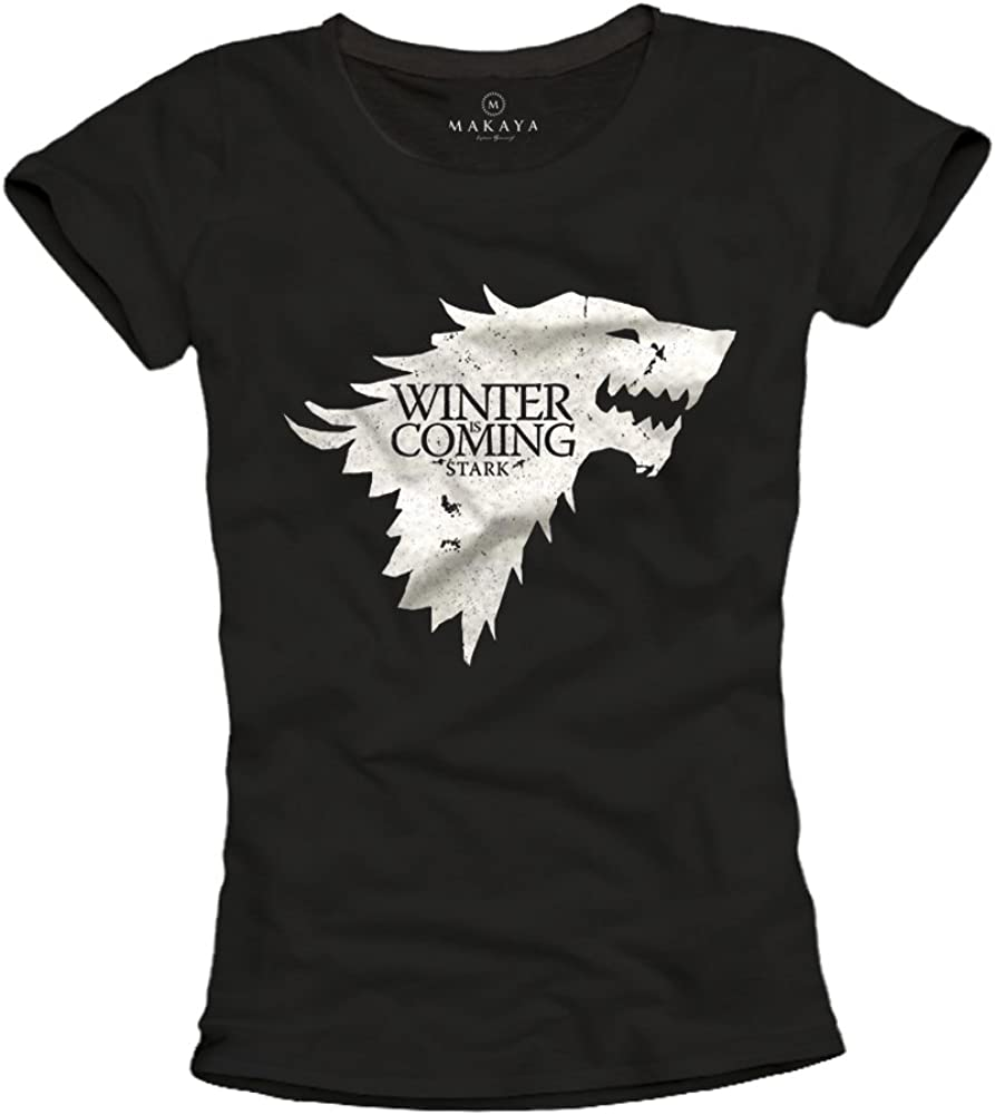 MAKAYA Camiseta Negra Mujer - Winter IS Coming Stark: Amazon.es: Ropa y accesorios