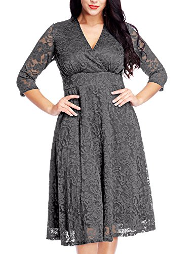GRAPENT Women's Lace Plus Size Mother Of The Bride Skater Dress Bridal Wedding Party Dark Grey 14W