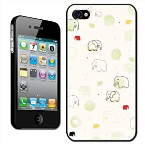 Fancy A Snuggle - Carcasa rígida para Apple iPhone 4 y 4S, diseño de elefantes