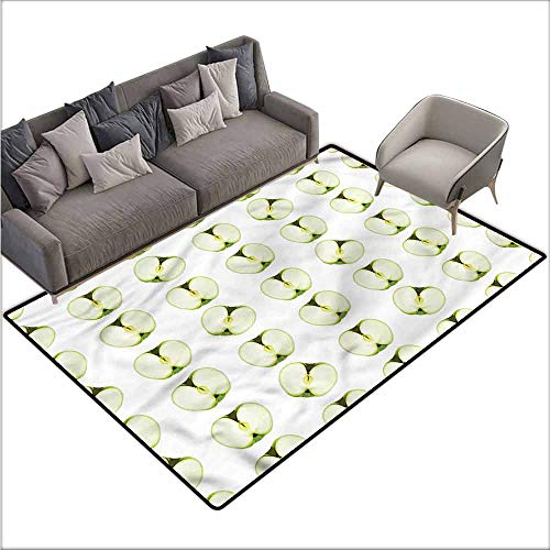 """Floor Mat Kitchen Long Carpet Apple,Orchard Produce Halves 36""""x 60"""",Indoor Outdoor Rugs"""