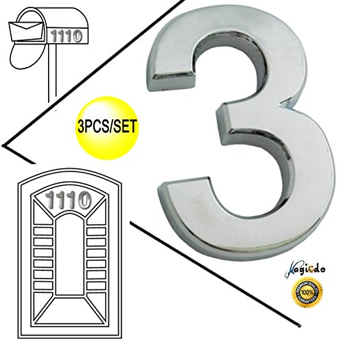 Magicdo 3 Pcs of Number 3, 2 Inch, Modern Silver Numbers, House Number and Mailbox Number, 3D Shining Reflective Number, Self-Stick Number Design for Mailbox, House, Door, Street Signs
