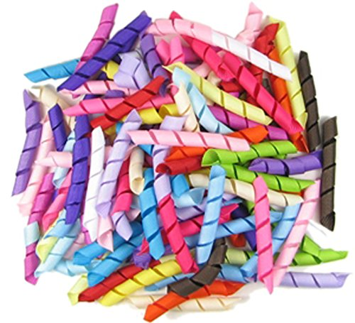 HipGirl 2.5 Inch Grosgrain Curled Korker Ribbon for Hair Bow Making, Gift Wrapping, Crafts--Assorted Color, 120 Piece Pack