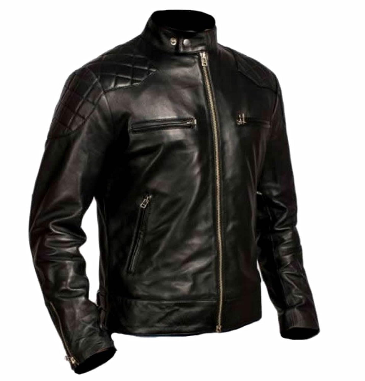 Coolhides Men's Fashion Moto Real Leather Jacket Beckham Style