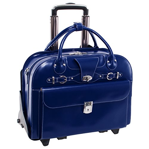 Removable Wheeled Laptop Briefcase, Leather, Mid-Size, Navy - Roseville | McKlein - 96647