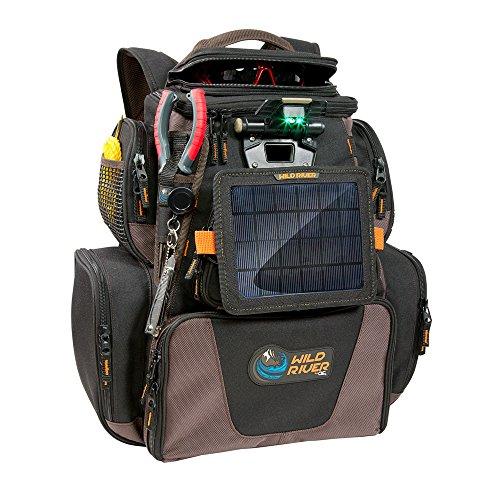 Wild River Tackle Tek Nomad XP Lighted Backpack w USB Charging System, SP01 Solar Kit Trays 52954
