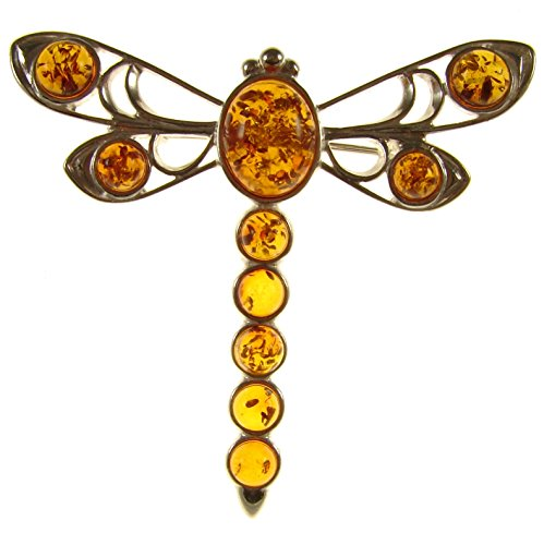 - BALTIC AMBER AND STERLING SILVER 925 DESIGNER COGNAC DRAGONFLY BROOCH PIN JEWELLERY JEWELRY