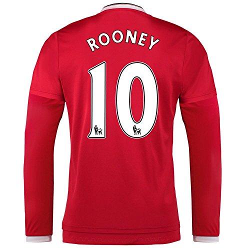 ペグ仮定ダルセットAdidas Rooney #10 Manchester United Home Soccer Jersey 2015 Long Sleeve/サッカーユニフォーム マンチェスター ユナイテッド FC ホーム用 長袖 ルーニー 背番号10 2015