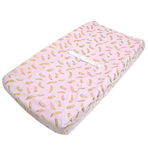 TL Care Heavenly Soft Chenille Fitted Contoured Changing Pad Cover,Sparkle Gold Feather on Solid Pink, for Girls