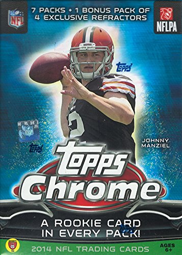2014 Topps Chrome NFL Football Series Unopened Blaster Box That Contains 7 Packs with a Rookie Card in Each and a Pack of 4 EXCLUSIVE REFRACTORS