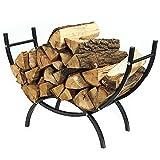 Sunnydaze 4-Foot Curved Firewood Log Rack, Indoor or Outdoor Fireplace Wood Stacker Storage Holder