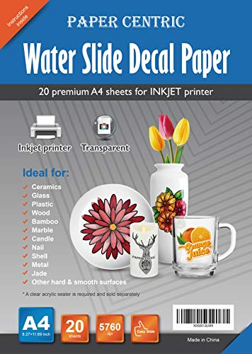 - Paper Centric, Waterslide Decal Paper Inkjet Clear - 20 Sheets A4 Size Premium Transparent Water Slide Decals Transfer Paper
