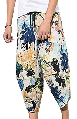 Décontracté Pour Imprimé Hommes Estampé Longues Le Lacets Casual 7 Pantalon Occasionnels Moderne En Lin Couleur TaEwqxYZ