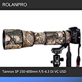 ROLANPRO Camera Lens Clothing Camouflage Rain Cover for Tamron SP 150-600mm F/5-6.3 Di VC USD (A011) Lens Protection Sleeve
