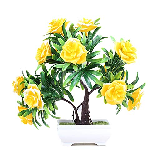 (Artificial Lifelike Green Plants Decoration, 1Pc Artificial Flower Rose Bonsai Performance Stage Garden Wedding Party Decor - Yellow)