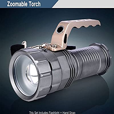 WindFire High Output Zoomable Flood/ Spotlight CREE XML-T6 L2 LED 2000 Lumen Flashlight Torch Hand-held Searchlights Portable Search Light, Rechargeable Focus Adjustable Search Light 18650 Battery Powered for Hunting