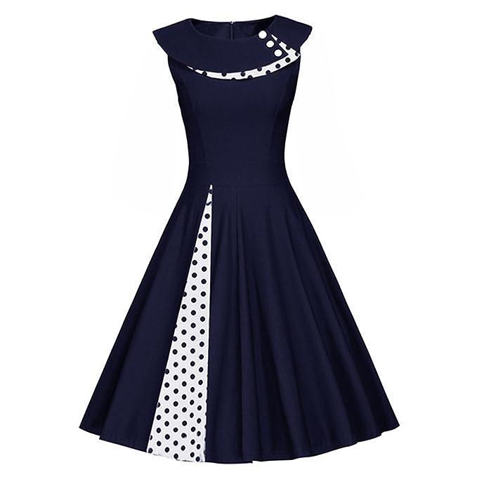 iBaste Vestidos Mujer Vintage 1950 Lunares Vestido de Cóctel Swing Sin Mangas Rockabilly Dress
