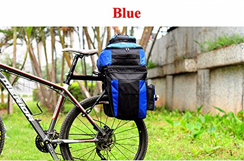 65L Waterproof Cycling Bag Bicycle Rack Bag Long Journey Luggage Mountain Bike Pannier Cycling Bags +Rain Cover (Blue) by WenZi (Image #3)
