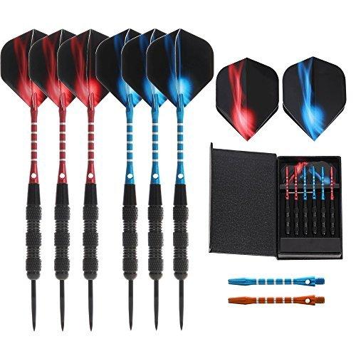 VopA 20グラムProfessional Steel Tip Dart Set with 2スタイルFlightsアルミニウムダーツケース、6パックメタルシャフトダーツDartboardパーティーバーゲームルーム