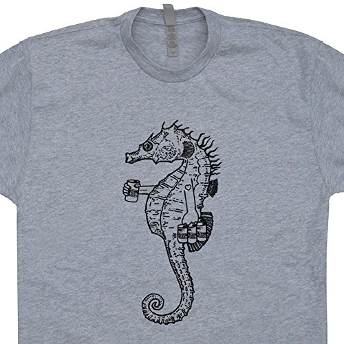 XL - Seahorse T Shirt Drinking Beer Tee Bomba Shack Cute Graphic Great Barrier Reef Tiki Bar Hula Girl for Mens Womens -