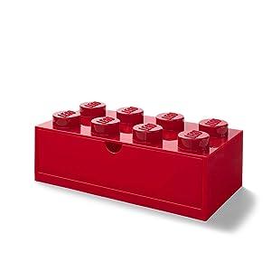 Lego Cassetto da scrivania con 8 pomelli, impilabile, Grande, Colore: Rosso, Red,...
