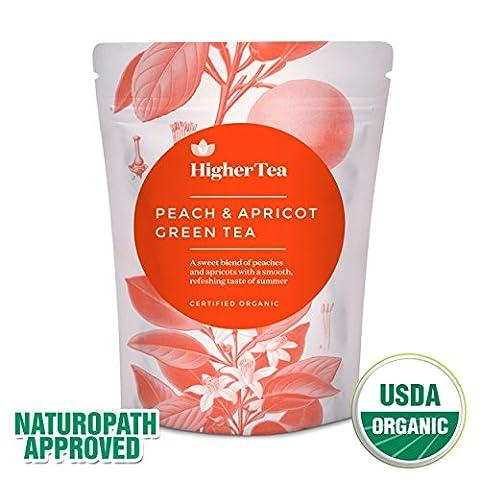 Peach & Apricot Organic Green Tea 3 Oz, By Higher Tea (40 Cups) Premium Loose Leaf Peach Tea with Apricot on Green Tea Base. Fresh, Fruity and Healthy.