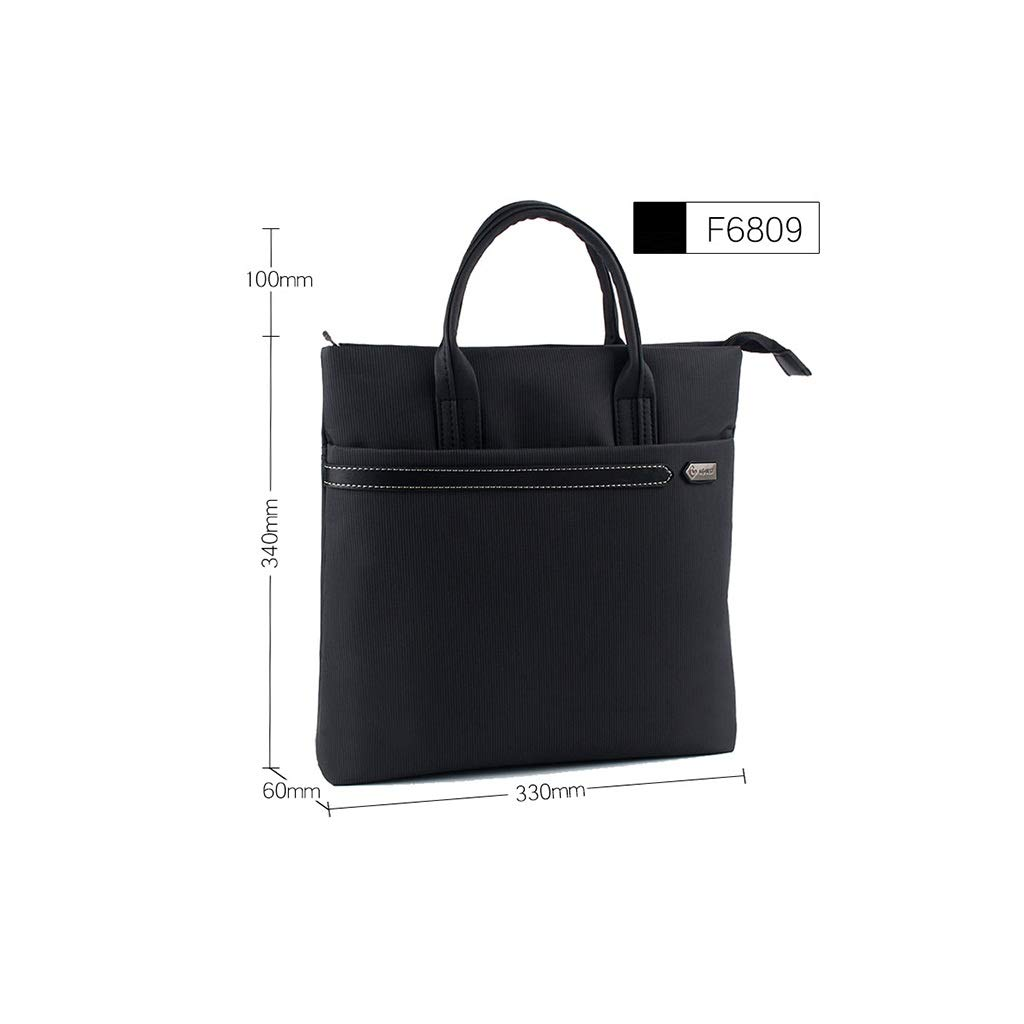 Hand-held Inclined File Bag, Canvas Waterproof Zipper File Information Bag 33×34×6cm (Color : Black, Size : 33×34×6cm) by QSJY File Cabinets