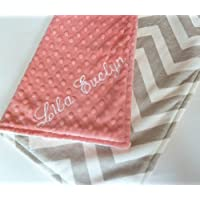 Personalize Double Minky Baby Blanket - Gray Chevron Minky Front, You Choose SOLID COLOR minky