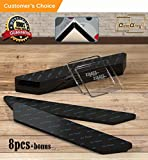 Rug Gripper Black - Best 8 pcs Anti Curling Rug Grippers Pad for Hardwood Tiles Floors Renewable 3M Anti-Slip Carpet Gripper Tape for Indoor and Outdoor use - Best Protector for Rug Corners and Edges