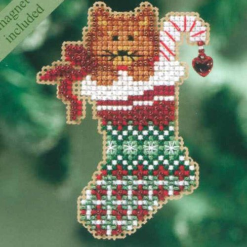 Kitty's Stocking Counted Cross Stitch Christmas Ornament Kit Mill Hill 2010 Winter Holiday ()